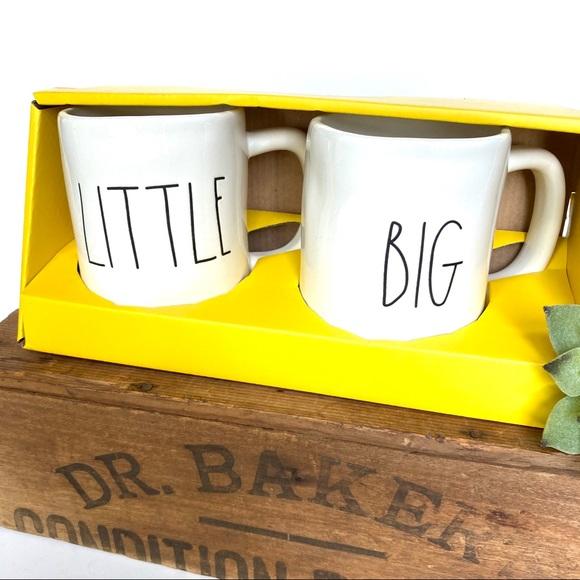 NEW Rae Dunn Big Little Coffee Tea Cups Mugs White